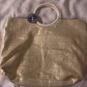 Bags - Gold and white tote bag
